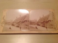 Village Street Oxfordshire C1900 Thatched A Jarvis Stereo view Stereoscope Card | eBay