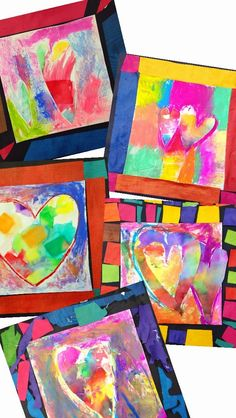 PARK ART SMARTIES: Gr. K: Jim Dine's Heart Art (tissue painting, chalk painting, collage)