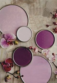 We use these colors for our wood birds. January Inspiration Board: Radiant Orchid (Pantone 2014 Color of the Year)