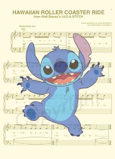 Stitch Music Sheet Art Print by AmourPrints on Etsy