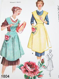 Vintage Apron Pattern - McCalls 1804 - Vtg 1950's Misses' Aprons in 2 Variations & Transfer - Bust 38-40. $34.00, via Etsy.