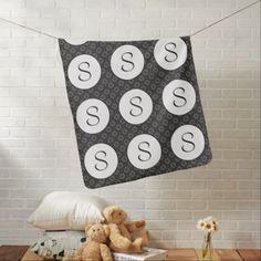 #monogrammed - #Classic Black White & Gray w/Monograms Baby Blanket