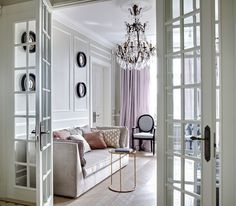 Elegant Apartment Living Room - chandelier, silk curtains, French Interior doors
