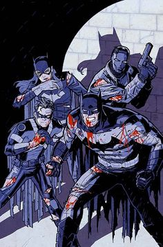 Batman Eternal by Cliff Chiang. Batman, Batgirl, Red Robin, and Red Hood. Nightwing, Batgirl, Catwoman, Superman, Batman Art, Batman Robin, Batman Ninja, Hq Marvel, Marvel Dc Comics
