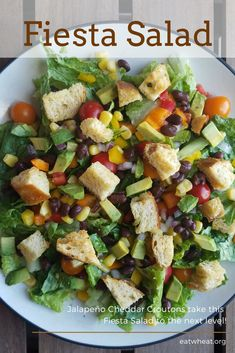 Fiesta lettuce salad features a rainbow of veggies with jalapeño cheddar croutons and a salsa-ranch dressing that is sure to be a family favorite! Lettuce Salad Recipes, Vegetable Salad Recipes, Side Salad Recipes, Slaw Recipes, Salad Dressing Recipes, Healthy Salad Recipes, Healthy Meals, Healthy Life, All You Need Is