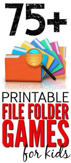Printable File Folder Games for Kids - Teaching File Folder Games, File Folder Activities, File Folders, Folder Games For Toddlers, Preschool Learning, Educational Activities, Preschool Activities, Preschool Printables, Learning Games For Kids