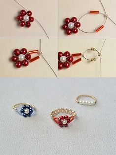 the pearl flower ring?The tutorial will be shared by LC., Like the pearl flower ring?The tutorial will be shared by LC., Like the pearl flower ring?The tutorial will be shared by LC. Diy Beaded Rings, Diy Jewelry Rings, Bead Jewellery, Seed Bead Jewelry, Jewelry Crafts, Jewelry Making, Beaded Bracelets, Jewelry Findings, Wire Jewelry