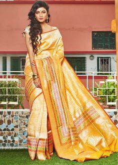 Heavy Zari Thread Work Yellow Benarasi Jamewar Handloom Pure Silk Saree With Blouse - DY020 | Indian Silk House Agencies