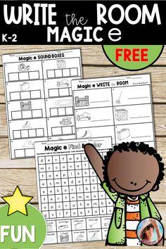 Write the Room Phonics – Magic e – Free – Kindergarten Lesson Plans Abc Phonics, First Grade Phonics, Word Study, Word Work, Silent E, Kindergarten Lesson Plans, Kindergarten Literacy, Free Teaching Resources, Teaching Ideas