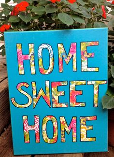 Home Sweet Home. 11inX14in Quote on Canvas. Scrapbook Paper Art
