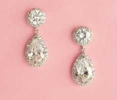 Silver Drop Wedding Earrings -$69.95