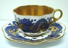 Antique old Coalport blue gold dragon decorated tea cup & saucer