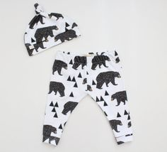 Organic Cotton Baby Leggings - Geometric Bear