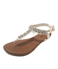 White Rhinestone Pearl T-Strap Sandal | Daily deals for moms, babies and kids