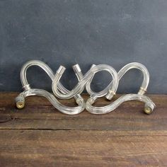5 Salvaged Glass Chandelier Arms, Vintage Clear Glass, S Shaped Chandelier Arms