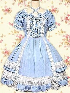 Cotton Blue Short Sleeves Bow Lace Cotton Classic Lolita Dress