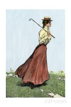 College Girl Playing Golf, Circa 1900 Photographic Print at AllPosters.com