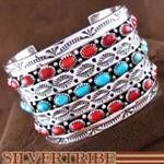 Turquoise and Coral Navajo Genuine Sterling Silver Cuff Bracelet