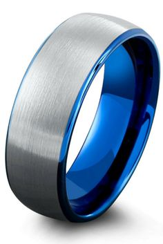Mens silver brushed tungsten wedding band with a blue interior. This tungsten wedding ring is designed with a dome profile for comfort fit.