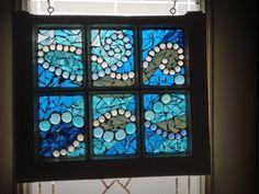 Glass on Glass Mosaic in Vintage Window by NiagaraGlassMosaics