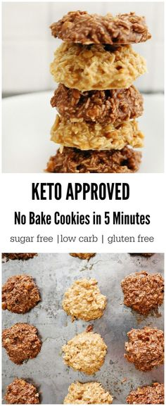 Keto No Bake Cookies in 5 Minutes! 2 Ways & ONLY 2 Carbs Creamy, fudgey and crunchy are just a few words to describe these amazing keto no bake cookies. A perfect way to satisfy your sweet tooth and get in some valuable macronutrients. Desserts Keto, Keto Snacks, Healthy Snacks, Keto Sweet Snacks, Carb Free Desserts, Quick Snacks, Keto Foods, Health Sweet Snacks, Liw Carb Desserts