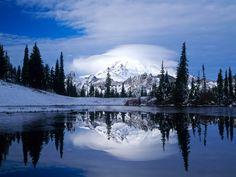 Lago na paisagem gelada