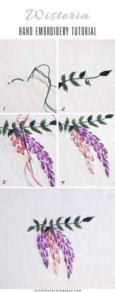 Hand embroidered Wisteria: Free PDF pattern & tutorial #handembroidery #embroidery #stitching #needlework #tutorial