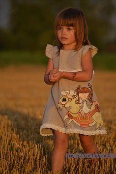Chicas Lino gris Vestido de flor chica vestido de por InGAartWork