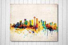 Seattle Skyline Seattle posterSeattle by 8RedFishCreative on Etsy