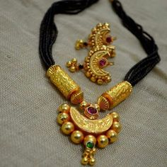 Black beads chain with pendent Price:1200 #elegantfashionwear #blackbeads #pendent