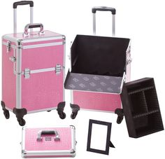 Professional 4 Wheel Spinner Rolling Cosmetic Case Pink Crocodile, only $119.95 plus free shipping! #makeup