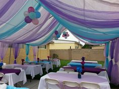 Canopy decorations. Frozen themed Party Canopy, Party Crafts, Peacock Wedding, Myla, Pirate Party, Under The Sea, Sweet 16, Halloween Party, Shower Ideas