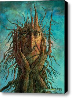 This is a fantasy painting of a treetch (tree creature) who is frustrated because he got his roots stuck in the ground, and he can't pull them out and go on an adventure! Painting by Frank Robert Dixon. Fine Art Amerika, Art Fantaisiste, Fantasy Character, Green Man, Whimsical Art, Tree Art, Oeuvre D'art, Fantasy Art, Fantasy Trees