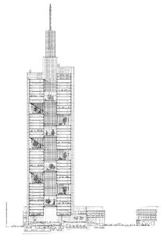 """DETAILED CAD    """"Section through the Commerzbank Tower in Frankfurt by   Foster + Partners showing the sky gardens dispersed throughout the structure. These allow more natural light to penetrate the interior, reducing the need for artificial sourcesand cultivating a general sense of well being. Despite its scale, Commerzbank was one ofthe first genuinely 'ecological' skyscrapers""""     via AR 2012"""