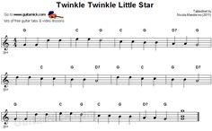 Free Beginner Guitar Sheet Music | ... Twinkle Little Star: easy guitar TAB, chords @ GuitarNick.com