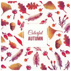 Hand painted colorful autumn background Free Vector