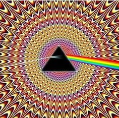 Pulsating Seizure Pink Floyd ~ Dark Side Of The Moon ~ Illusion optical illusion. Stefan this is a whole site that has some wonderful optical illusions. Optical Illusions Pictures, Illusion Pictures, Illusions Mind, Image Illusion, Illusion Art, Arte Pink Floyd, Art Fractal, Poster Design, Psychedelic Art