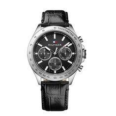 Tommy Hilfiger 1791224 Hudson croc-effect leather watch Mens Watches Leather, Leather Men, Black Leather, Gents Watches, Watches For Men, Tommy Hilfiger Watches, Stainless Steel Case, Chronograph, Crocs