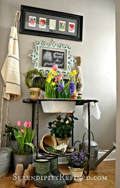 Serendipity Refined: Repurposed Vintage Wash Stand Potting Table