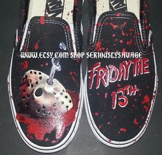 3992fefe97c2a0 Jason Mask and Friday The 13th Custom Painted Classic Horror Movies Vans  Converse Toms shoes.
