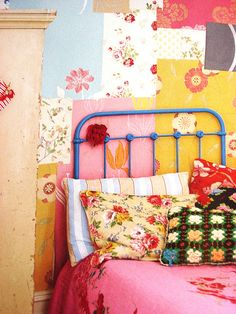 """Try using scraps of wallpaper to create colorful, eclectic bedroom wall decor. Taken from the book """"Flea Market Style"""" by Emily Chalmers"""