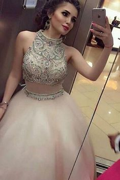 Fabulous High Neck Two Piece Floor-Length Prom Dress with Beading