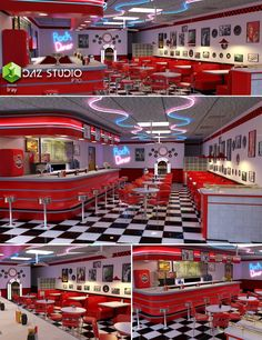 This is a detailed model of a Diner. Complete with zero props: Bar Light Bench Set Condiments Dine Set Diner Stuffs Fan Frames and Chairs Juke Box Diners Room 10 Tissue Menu Restaurant Design, Concept Restaurant, Diner Restaurant, American Restaurant, 1950 Diner, Vintage Diner, Retro Diner, 50s Diner Kitchen, 1950 American Diner
