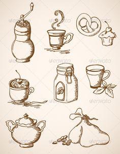 Hand Drawn Vintage Coffee Icons ...  bag, beverage, cake, coffee, coffee bean, crockery, cup, decorative, design, dessert, drawing, drink, food, grinder, menu, mint, old, retro, sack, sugar, sweet, tableware, tasty, tea, vector, vintage