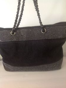 Noelle Black Denim Prewashed Silver Studed Large Tote Bag Designer Fashion  Hip ce86a378fcce4
