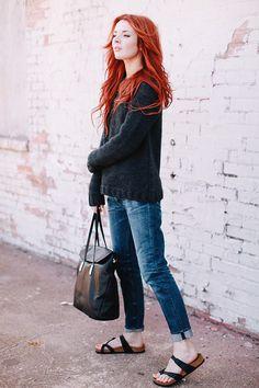 Wearing Anine Bing sweater, Golden Goose jeans, Elizabeth & James tote bag (c/o), and Birkenstock sandals