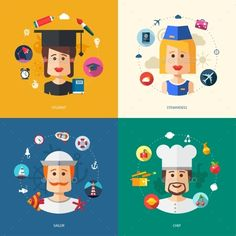 Illustration of vector flat design business illustrations with people professions