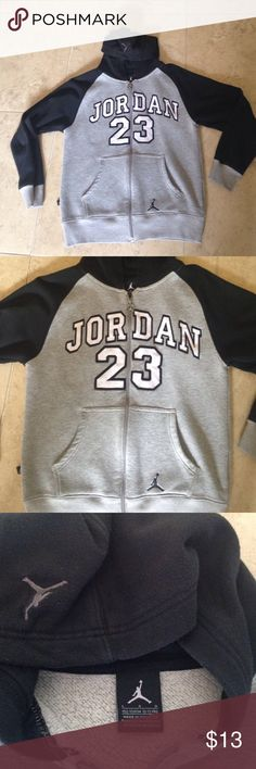 JORDAN Kids Hoodie Sz L (10/12) 🏀 JORDAN Kids Hooded Sweatshirt Sz Youth Large (10/12) Grey and Black with Full Zip Front. Logos Throughout to include Pockets, Hood and Zipper Pull. Good used condition with some piling. Jordan Shirts & Tops Sweatshirts & Hoodies