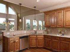 #Kitchen Idea of the Day: Tuscan Kitchen with a corner sink and peninsula.