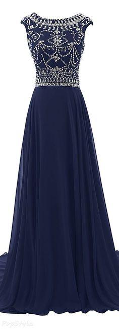 Elegant Navy Blue Beaded Long Prom Dress, A Line Chiffon Evening Gown T1780 Modest Formal Dresses, Royal Blue Prom Dresses, Long Formal Gowns, Gold Prom Dresses, Prom Dresses For Sale, Formal Evening Dresses, Evening Gowns, Elegant Dresses, Sexy Dresses